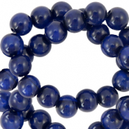 Polaris beads round 6 mm Mosso shiny Deep Blue