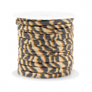 Stitched elastic ribbon tiger Beige-Brown