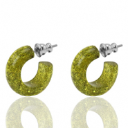 Earrings Creole Polaris Elements glitter 18mm Olive Green