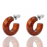 Earrings Creole Polaris Elements glitter 18mm Topaz Brown