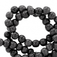 Wooden beads round 4mm Anthracite Black