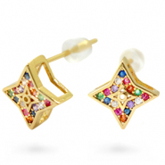 Zirconia rainbow studs star Gold