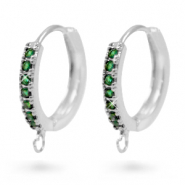 Zirconia creole earrings with loop Silver-Green