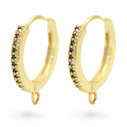 Zirconia creole earrings with loop Gold-Blue