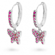 Zirconia creole earrings with butterfly Silver-Pink