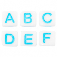 Acrylic letter beads mix White-Blue