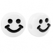 Acrylic letter beads smiley White-Black