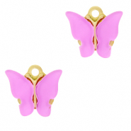 Stainless steel charms butterfly Lilac Purple-Gold