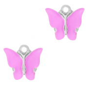 Stainless steel charms butterfly Lilac Purple-Silver
