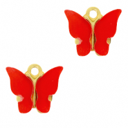 Stainless steel charms butterfly Red-Gold