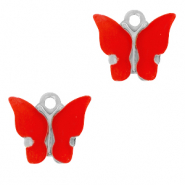 Stainless steel charms butterfly Red-Silver