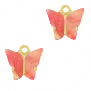 Stainless steel charms butterfly Raspberry Red-Gold
