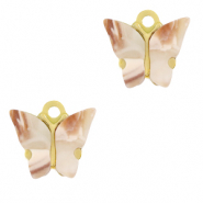 Stainless steel charms butterfly Vintage Pink-Gold