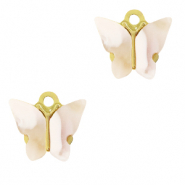 Stainless steel charms butterfly Mixed Beige-Gold