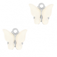 Stainless steel charms butterfly Off white-Silver