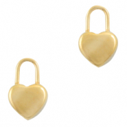 Stainless steel charms lock heart Gold