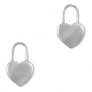Stainless steel charms lock heart Silver