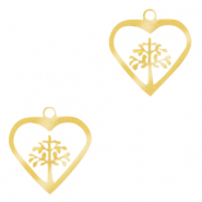 Stainless steel charms heart with tree of life Gold