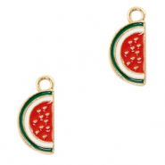 Metal charms watermelon Gold-Red