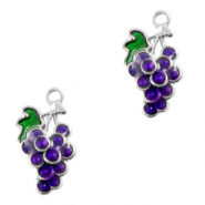 Metal charms grapes Silver-Purple