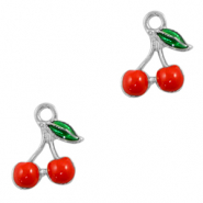 Metal charms cherries Silver-Red