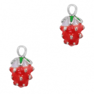 Metal charms strawberry Silver-Red