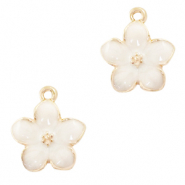Metal charms flower Gold-White
