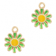 Metal charms flower Gold-Green