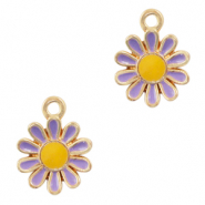 Metal charms flower Gold Purple