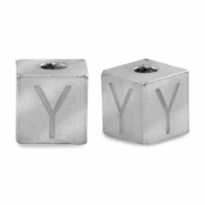 Stainless steel beads letter Y Silver