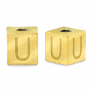 Stainless steel beads letter U Gold