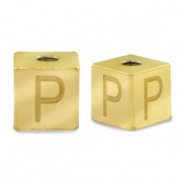 Stainless steel beads letter P Gold