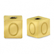 Stainless steel beads letter O Gold