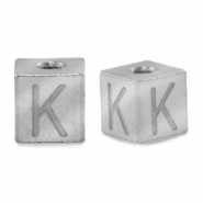 Stainless steel beads letter K Silver