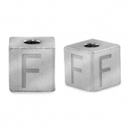 Stainless steel beads letter F Silver