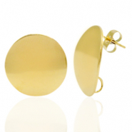 Stainless steel earrings/earpin round 20mm with loop Gold