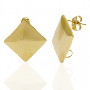 Stainless steel earrings/earpin square with loop Gold