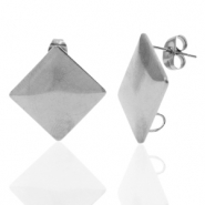 Stainless steel earrings/earpin square with loop Silver