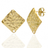 Stainless steel earrings/earpin square hammered with eye Gold