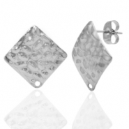 Stainless steel earrings/earpin square hammered with eye Silver