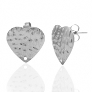 Stainless steel earrings/earpin heart hammered with eye Silver