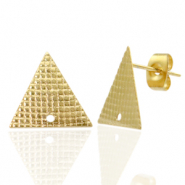 Stainless steel earrings/earpin triangle with eye Gold
