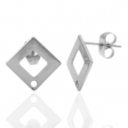 Stainless steel earrings/earpin square with eye Silver