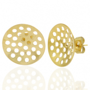 Stainless steel earrings/earpin round 16mm with eyes Gold