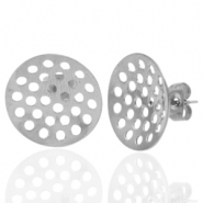 Stainless steel earrings/earpin round 16mm with eyes Silver