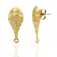 Stainless steel earrings/earpin oval with loop Gold