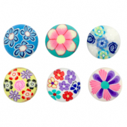Polymer beads round flowers Multicolour