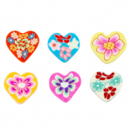 Polymer beads heart flowers Multicolour