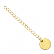 Stainless Steel findings extension chain coin 12mm Gold