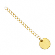 Stainless Steel findings extension chain coin 10mm Gold